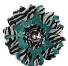 Turquoise and Zebra Gerbera Flower with Rhinestone